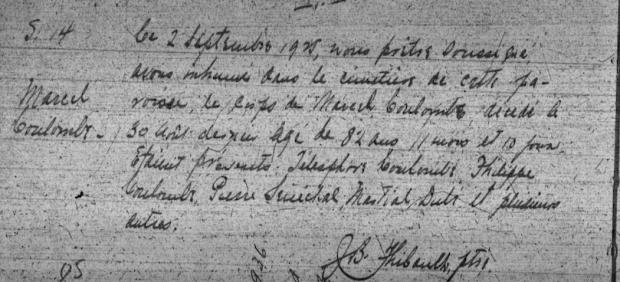 : Acte de décès de Marcel Coulombe. Source : Registres d'état civil du Nouveau-Brunswick, Collection Drouin.