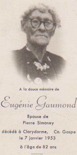 Carte mortuaire d'Eugénie Gaumond, épouse de Pierre Simony.