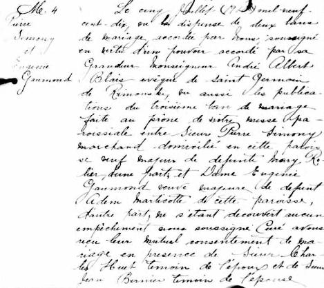 Acte de mariage de Pierre Simony et d'Eugénie Gaumond. Source : Registres du Fonds Drouin, Cloridorme, 1910, huitième feuillet. ©Institut généalogique Drouin.